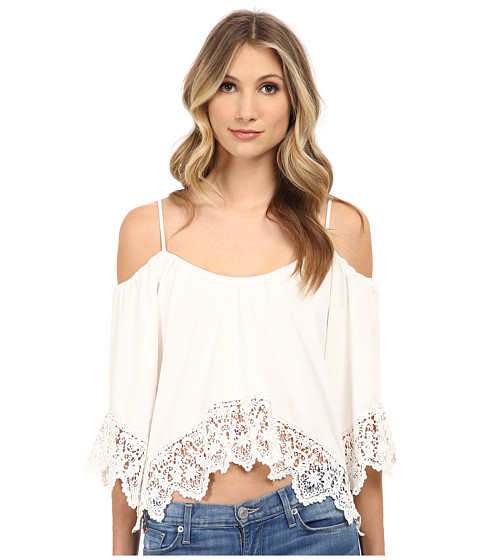 Nightcap - Jersey Crochet Ruffle Top (White) Women's Clothing
