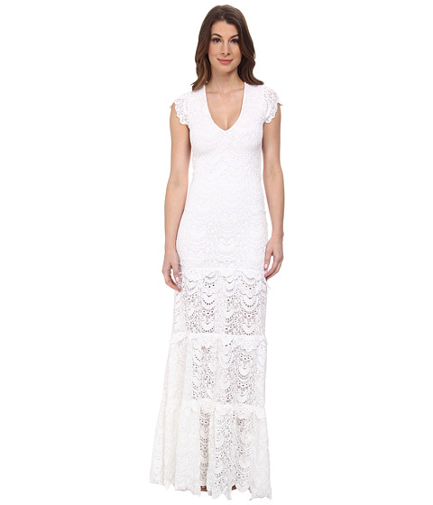 Nightcap - Spanish Lace Deep V Gown (White) Women's Dress