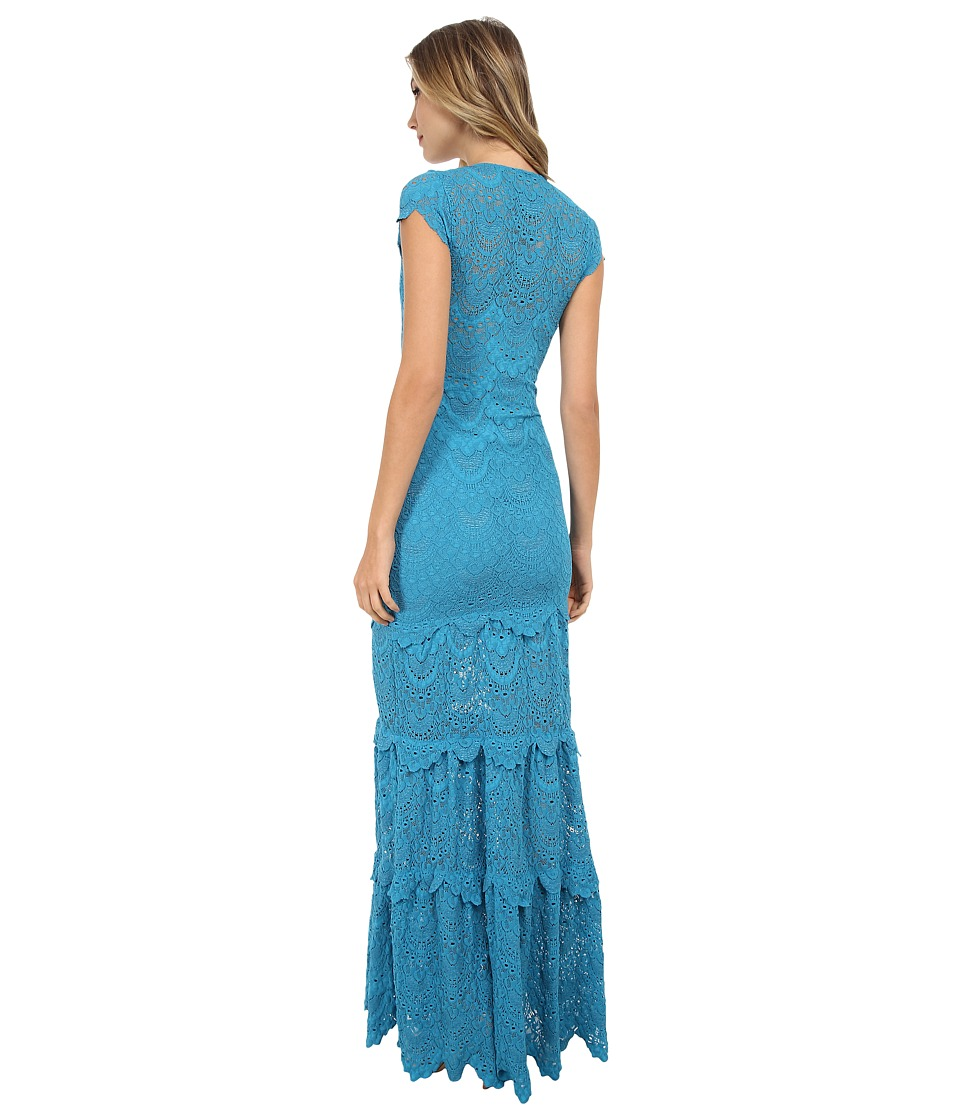 Nightcap - Spanish Lace Deep V Gown (Turquoise) Women's Dress