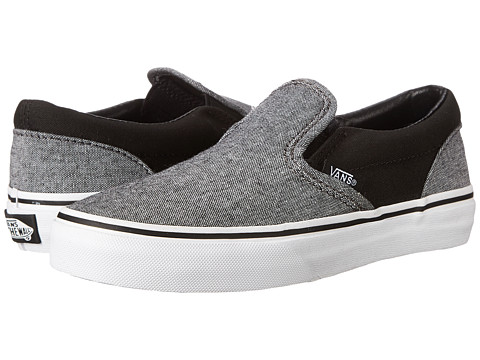 Vans Kids - Classic Slip-On (Little Kid/Big Kid) ((C & C) Black/Pewter) Boys Shoes