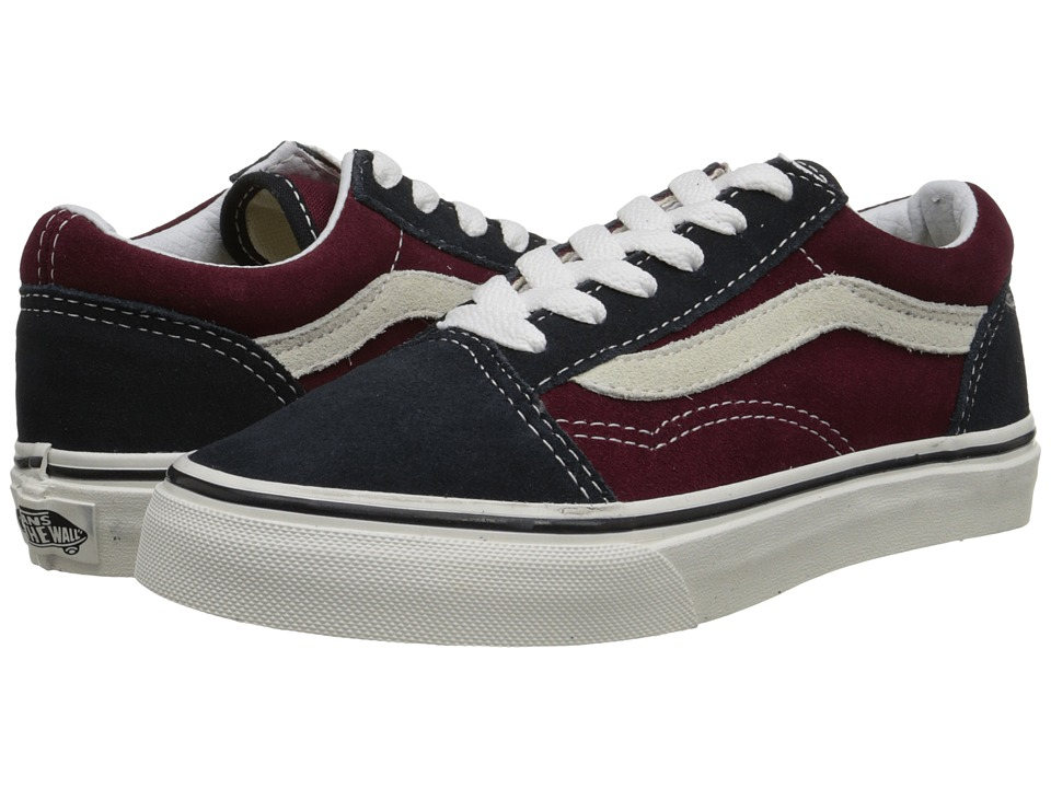 Vans Kids - Old Skool (Little Kid/Big Kid) ((Vintage) Blue Graphite/Windsor Wine) Boys Shoes