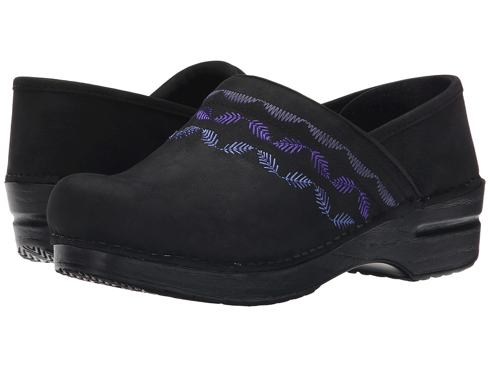Dansko Embroidered Pro (Black Nubuck) Women