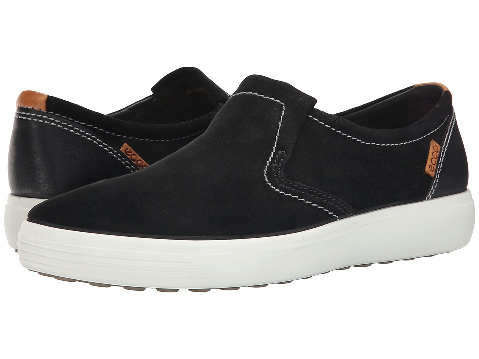 ECCO - Soft VII Slip-On (Black/Black) Men's Slip on Shoes