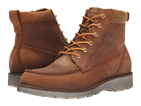 ECCO - Holbrok Moc Toe Boot (Amber) Men's Lace-up Boots