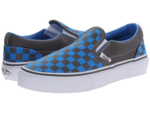 Vans Kids - Classic Slip-On (Little Kid/Big Kid) ((Checkerboard) Pewter/Brilliant Blue) Boys Shoes