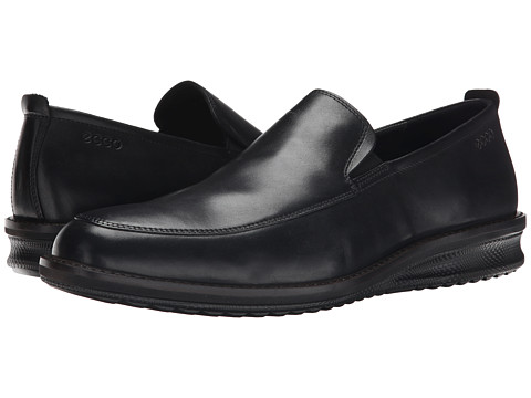 ECCO - Contoured Slip-On (Black) Men's Slip on Shoes