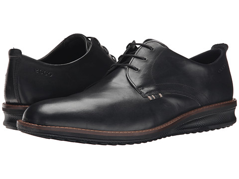 ECCO - Contoured Plain Toe Tie (Black) Men's Shoes