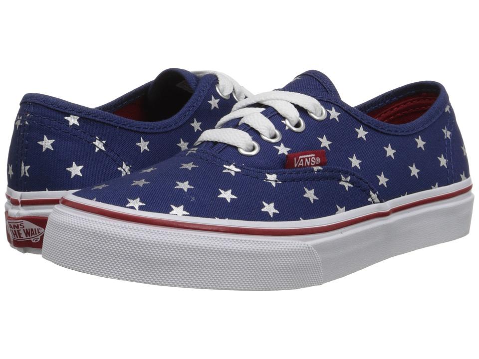 Vans Kids - Authentic (Little Kid/Big Kid) ((Foil Stars) Red/Blue) Girls Shoes