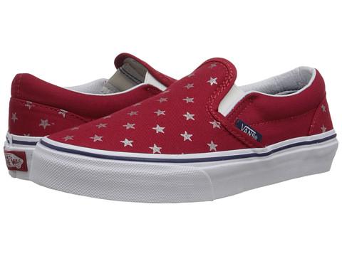 Vans Kids - Classic Slip-On (Little Kid/Big Kid) ((Foil Stars) Red/Blue) Girls Shoes