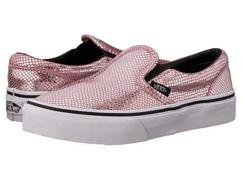 Vans Kids - Classic Slip-On (Little Kid/Big Kid) ((Metallic Snake) Pink/Black) Girls Shoes