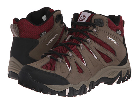 Merrell - Mojave Mid Waterproof (Boulder/Red) Women's Hiking Boots