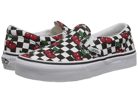 Vans Kids - Classic Slip-On (Little Kid/Big Kid) ((Cherry Checkers) Black/True White) Girls Shoes