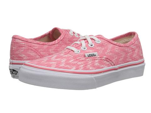 Vans Kids - Authentic (Little Kid/Big Kid) ((Denim Chevron) Coral/True White) Girls Shoes