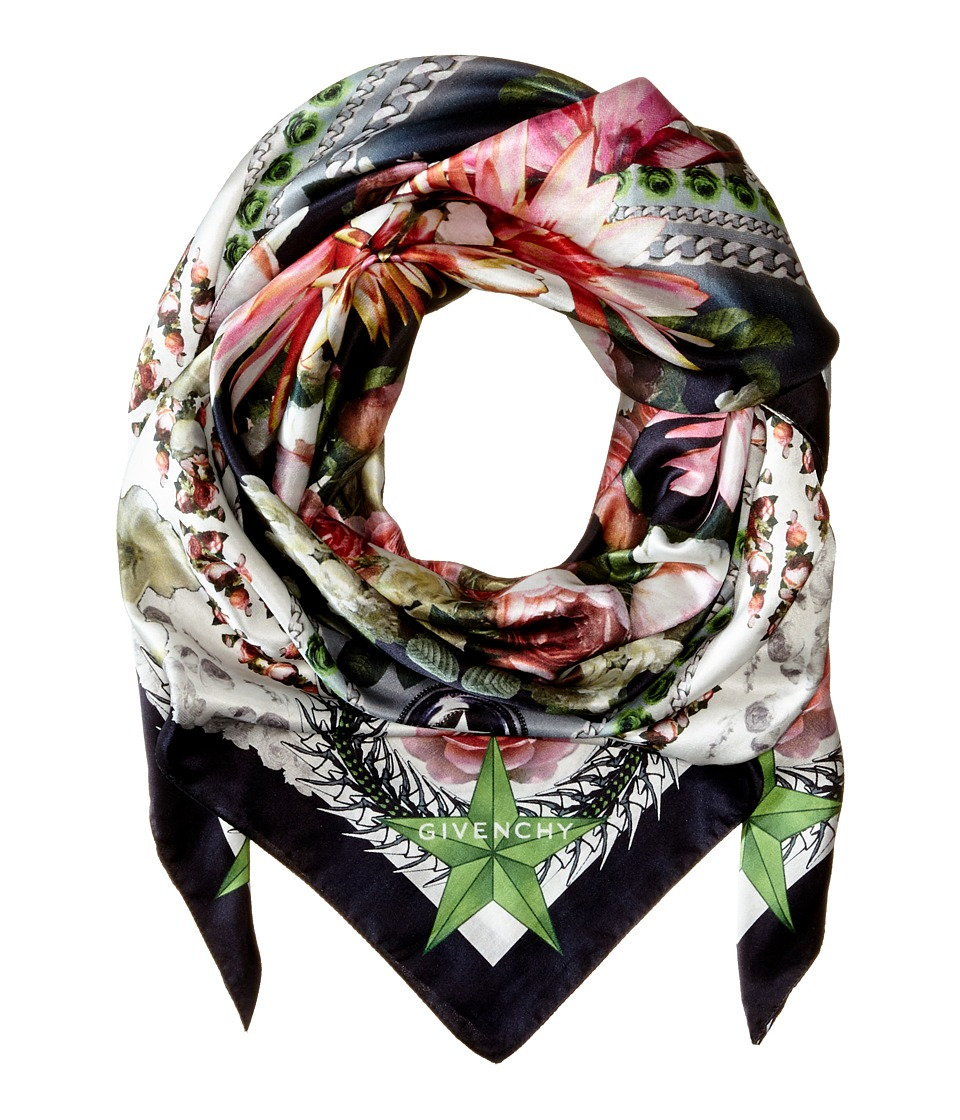 Givenchy - Paradise Flowers Cotton Silk Scarf (Black) Scarves