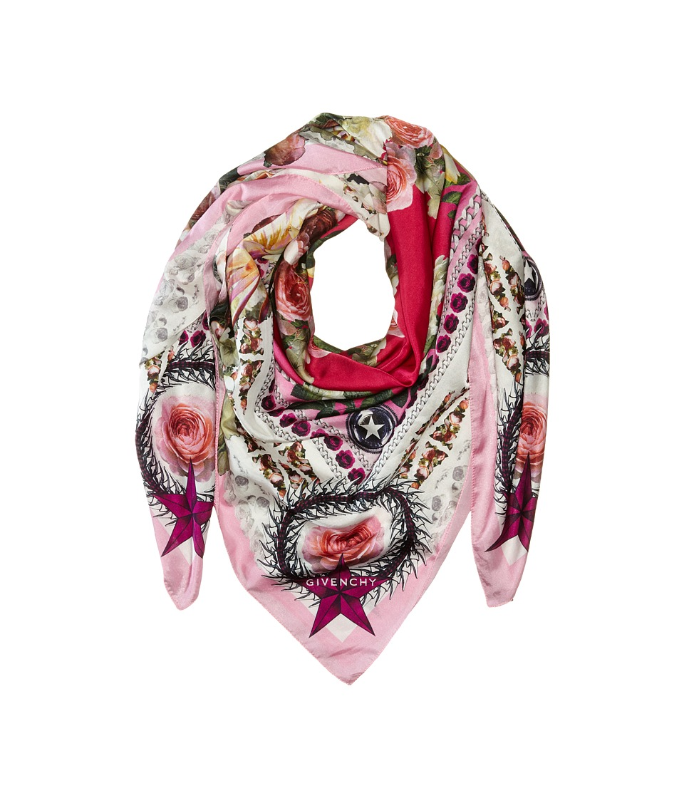 Givenchy - Paradise Flowers Cotton Silk Scarf (Baby Pink) Scarves