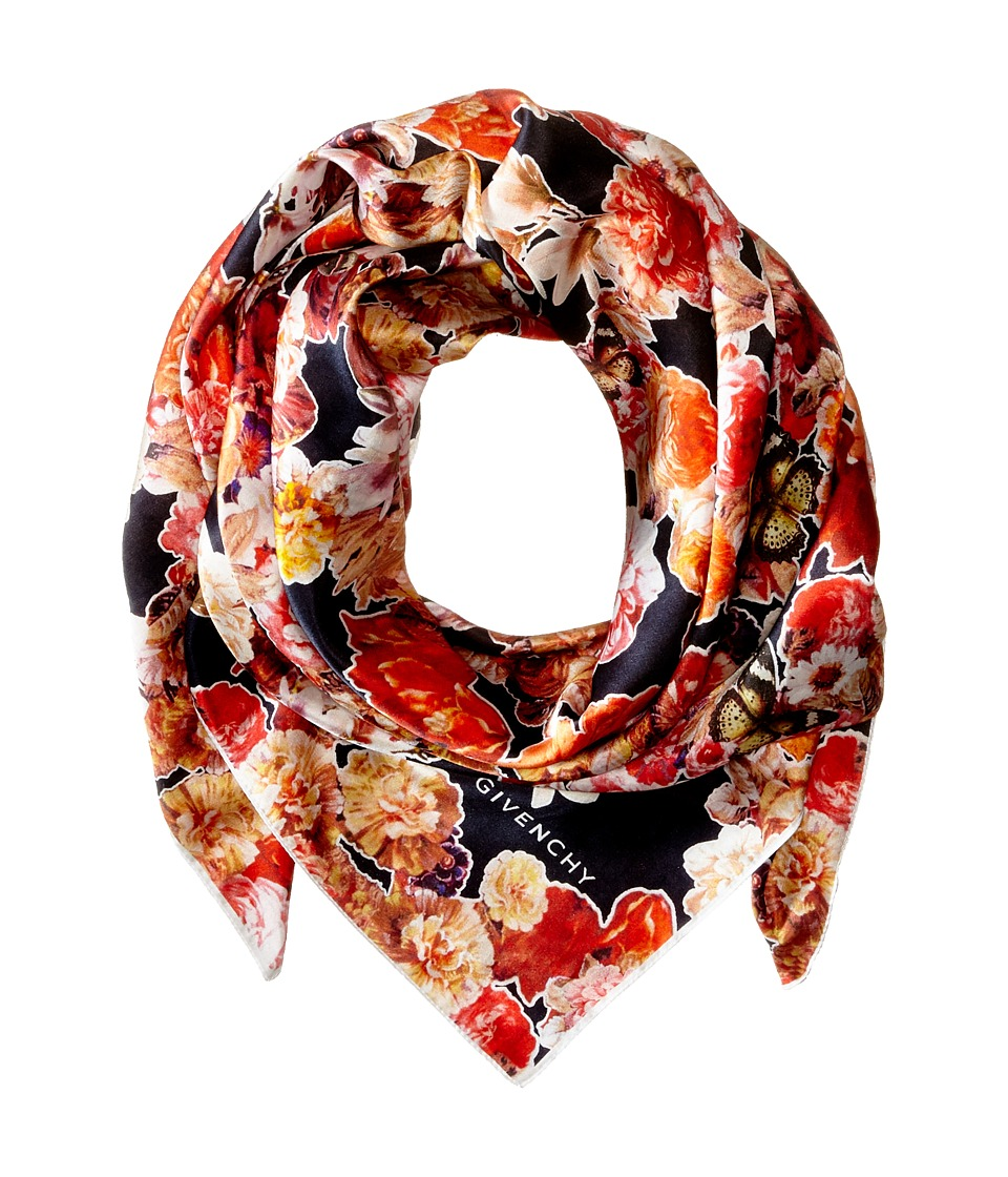 Givenchy - Flower Butterfly Cotton Silk Scarf (Black) Scarves