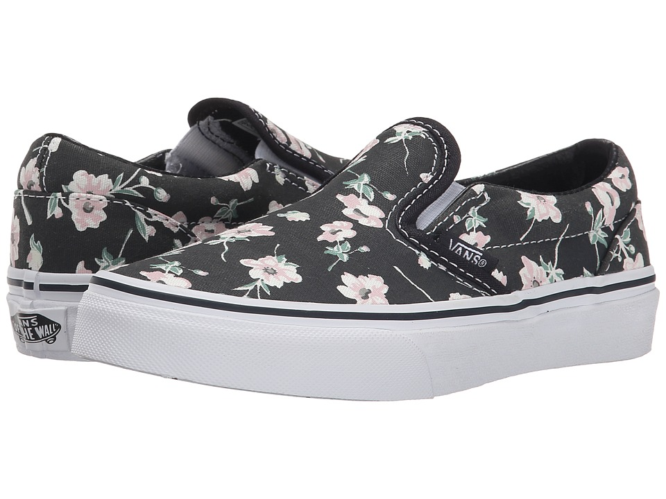 Vans Kids - Classic Slip-On (Little Kid/Big Kid) ((Vintage Floral) Blue Graphite) Girls Shoes