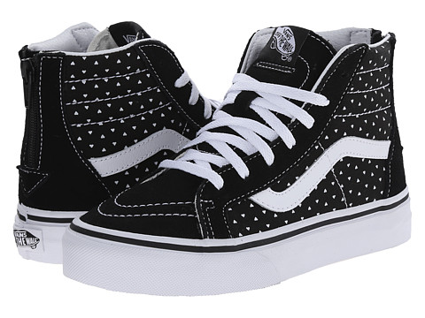 Vans Kids - SK8 Hi Zip (Little Kid/Big Kid) ((Micro Hearts) Black/True White) Girls Shoes