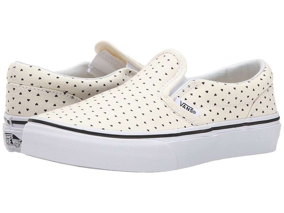 Vans Kids - Classic Slip-On (Little Kid/Big Kid) OS ((Micro Hearts) Classic White/Black) Girls Shoes