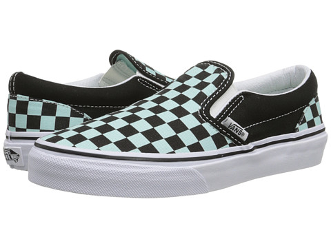 Vans Kids - Classic Slip-On (Little Kid/Big Kid) ((Checkerboard) Black/Blue Tint) Girls Shoes