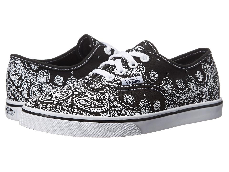 Vans Kids - Authentic Lo Pro (Little Kid/Big Kid) ((Bandana) Black/Black) Girls Shoes