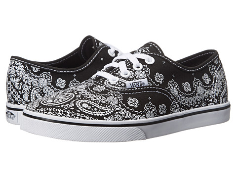Vans Kids - Authentic Lo Pro (Little Kid/Big Kid) ((Bandana) Black/Black) Girls Shoes