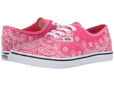 Vans Kids - Authentic Lo Pro (Little Kid/Big Kid) ((Bandana) Pink/True White) Girls Shoes
