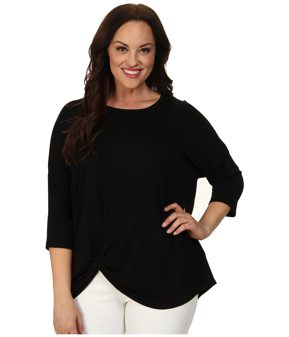 Karen Kane Plus - Plus Size 3/4 Sleeve Pick Up Top (Black) Women's Short Sleeve Pullover