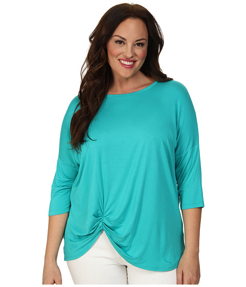 Karen Kane Plus - Plus Size 3/4 Sleeve Pick Up Top (Turquoise) Women's Short Sleeve Pullover