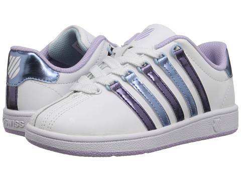 K-Swiss Kids - Classic VN (Little Kid) (White/Pastel Lilac/Blue Haven) Girls Shoes