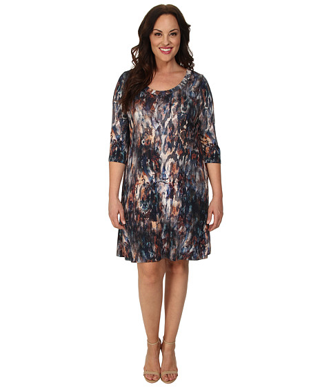 Karen Kane Plus - Plus Size 3/4 Sleeve T-Shirt Dress (Print) Women's Dress