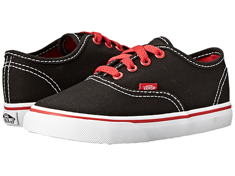 Vans Kids - Authentic (Toddler) ((Pop) Black/White/Red) Boys Shoes