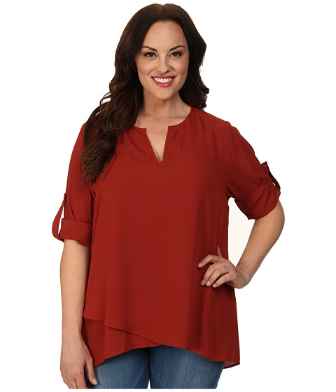 Karen Kane Plus - Plus Size Asymmetrical Hem Wrap Top 1L25234W (Chili) Women