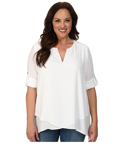 Karen Kane Plus - Plus Size Asymmetrical Hem Wrap Top 1L25234W (Off White) Women's Short Sleeve Pullover