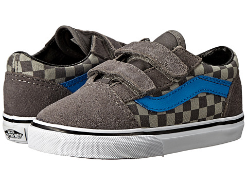 Vans Kids - Old Skool V (Toddler) ((Checkerboard) Pewter/Neutral Gray) Boys Shoes