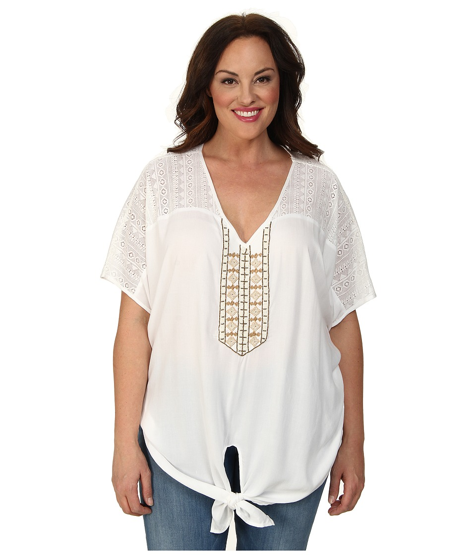 Karen Kane Plus - Plus Size Coronado Beaded Tie Front Top (Off White) Women's Short Sleeve Pullover plus size,  plus size fashion plus size appare