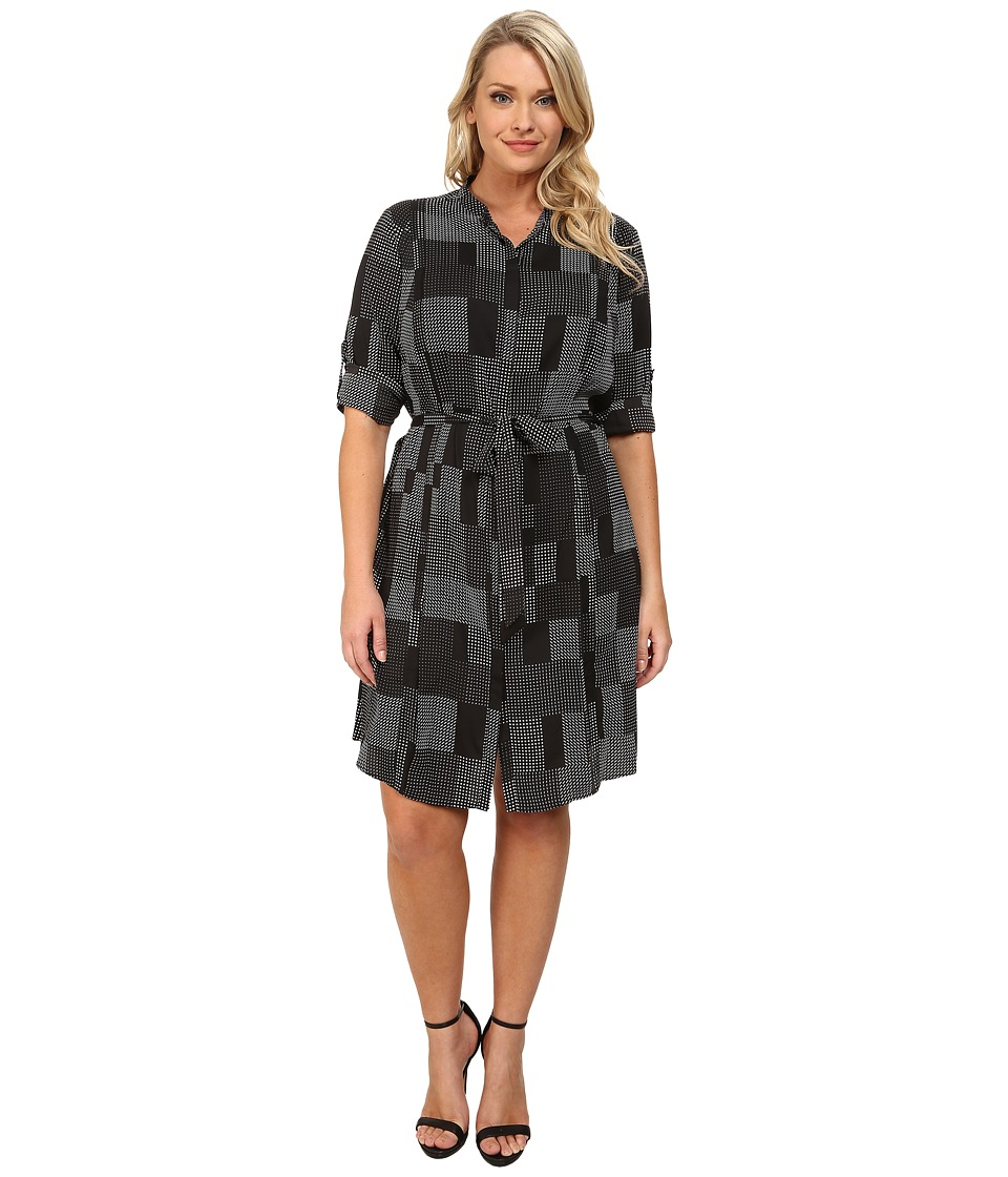 DKNYC - Plus Size Pleated Roll Tab Shirtdress (Black) Women's Dress