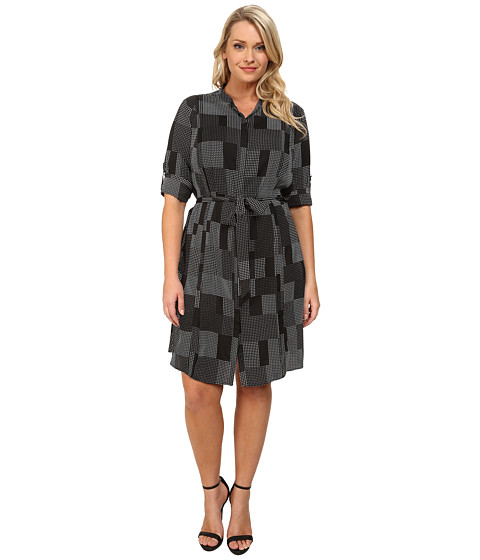 DKNYC - Plus Size Pleated Roll Tab Shirtdress (Black) Women