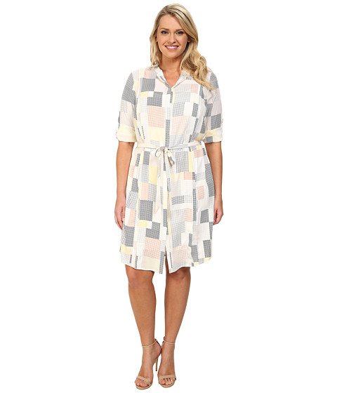 Apparel-DKNYC Plus Size Pleated Roll Tab Shirtdress (Mimosa) Women's Dress