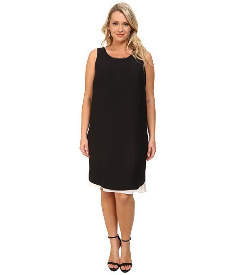 DKNYC - Plus Size Modern Crepe Chiffon Double Layer Dress (Black) Women