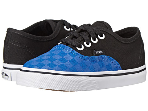 Vans Kids - Authentic (Toddler) ((Tonal Checker) Olympian Blue/Black) Boys Shoes