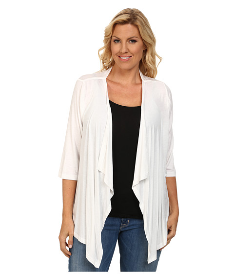 Karen Kane Plus - Plus Size 3/4 Sleeve Drape Jacket (Off White) Women's Coat