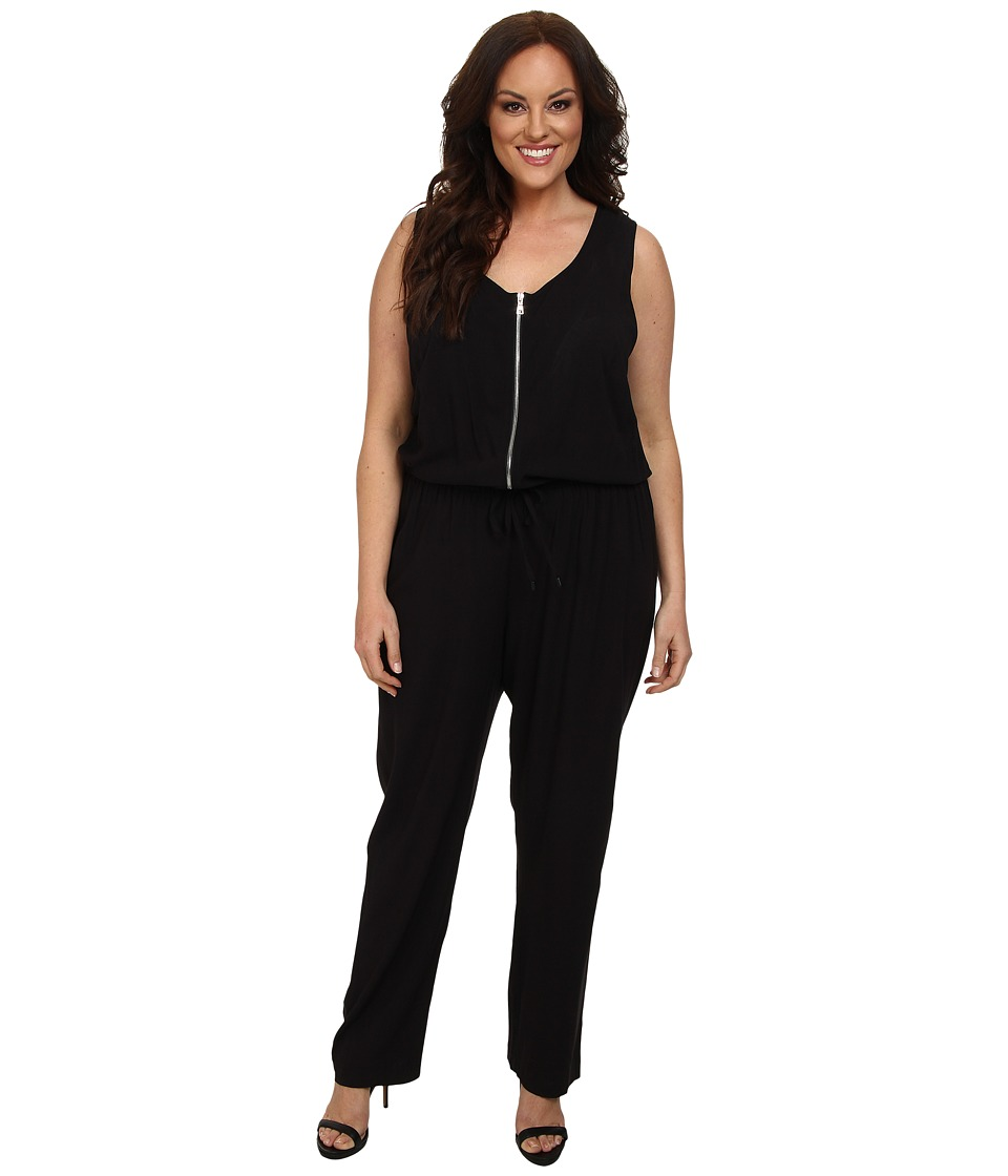 Karen Kane Plus - Plus Size Zip Front Jumpsuit (Black) Women's Jumpsuit & Rompers One Piece