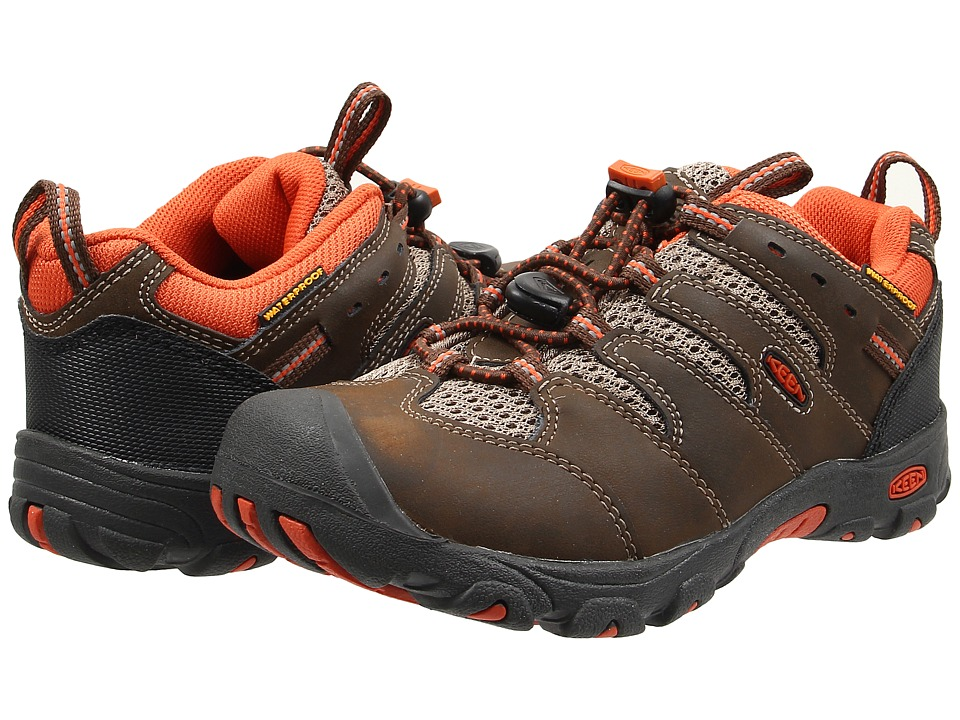 Keen Kids - Koven Low WP (Little Kid/Big Kid) (Cascade Brown/Burnt Orange) Boys Shoes