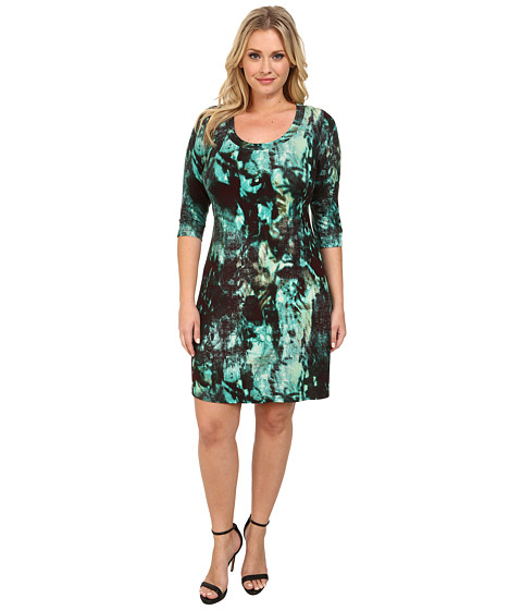 Karen Kane Plus - Plus Size 3/4 Sleeve T-Shirt Dress (Print) Women