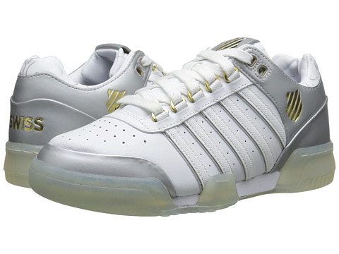 K-Swiss - Gstaad (White/Silver/Gold) Women's Tennis Shoes