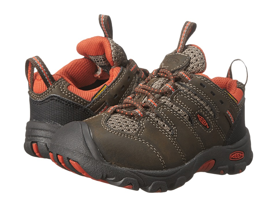 Keen Kids - Koven Low WP (Toddler/Little Kid) (Cascade Brown/Burnt Orange) Kid's Shoes