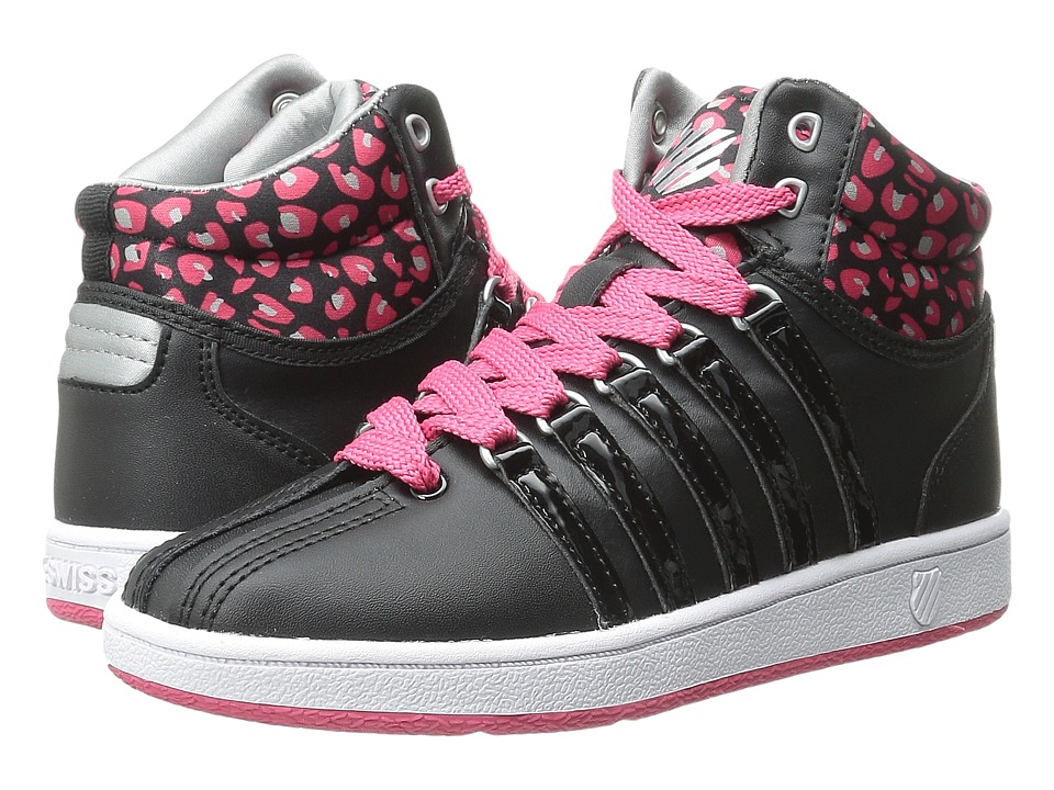 K-Swiss Kids - Classic VN Mid (Little Kid) (Black/Raspberry/Silver) Girls Shoes