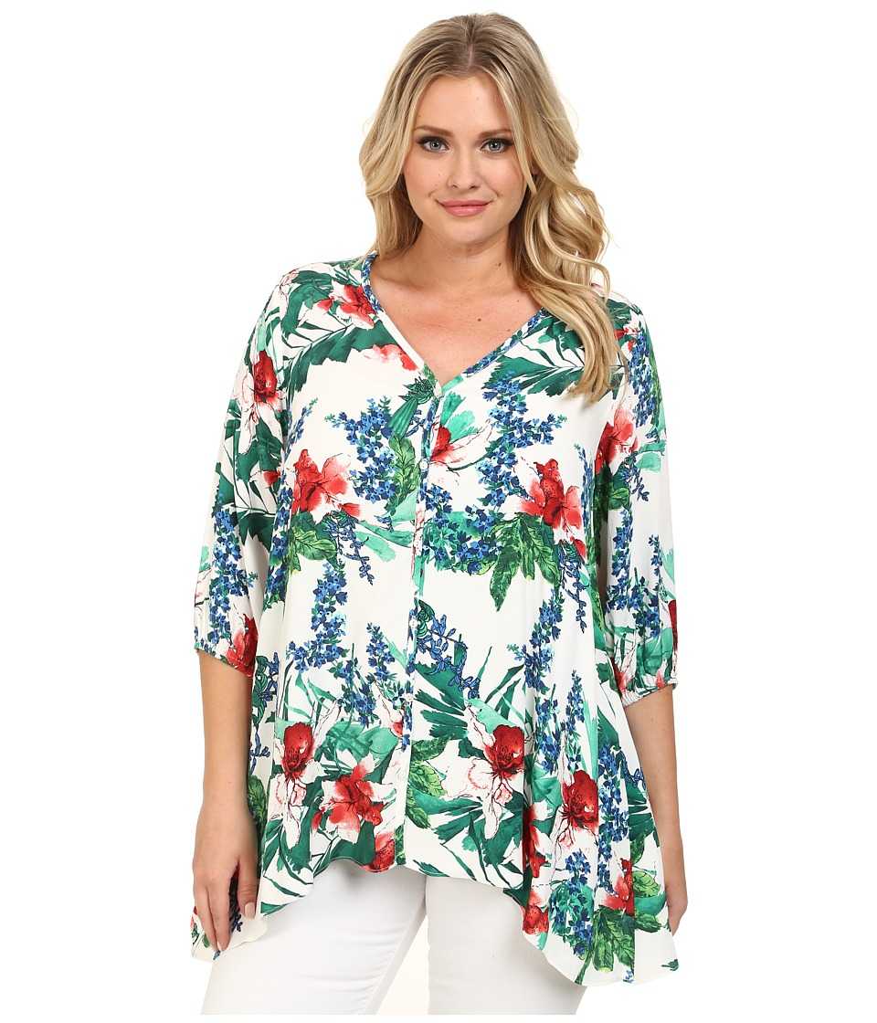 Karen Kane Plus - Plus Size Tropical Handkerchief Top (Print) Women's Blouse