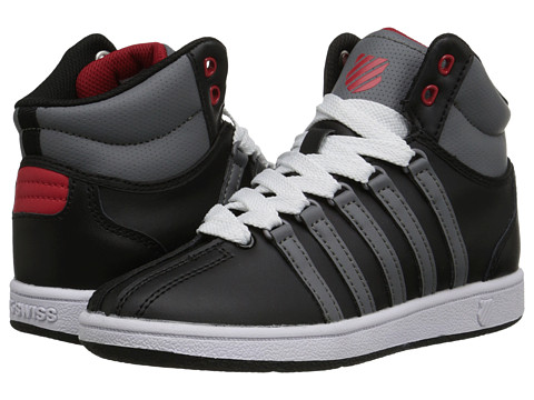 K-Swiss Kids - Classic VN Mid (Little Kid) (Black/Smoked Pearl/Mars Red) Boys Shoes